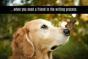 "Photo of a dog with a butterfly on its nose with the caption ""...when you need a friend in the writing process."""
