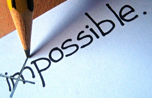 "Image of the word ""impossible"", with a pencil crossing out ""im."""