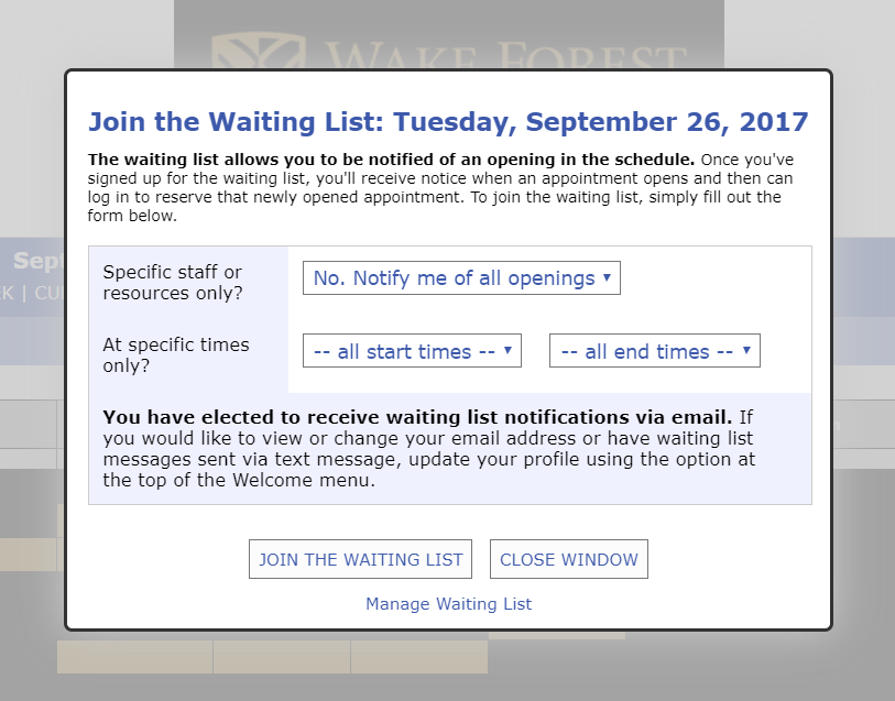 Tuesday Tip: Waiting List | | Wake Forest University